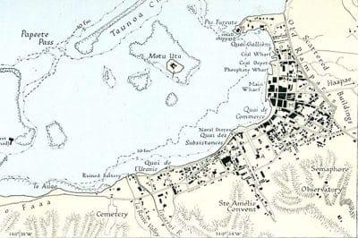 Plan de Papeete en 1931 indiquant l'observatoire en bas à droite