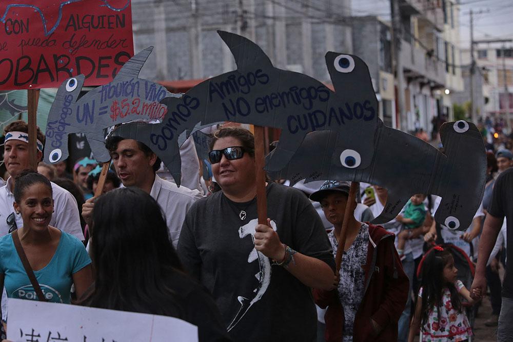 Les habitants des îles Galapagos sont descendus dans la rue vendredi pour protester contre la pêche d'espèces protégées par une immense flotte chinoise.