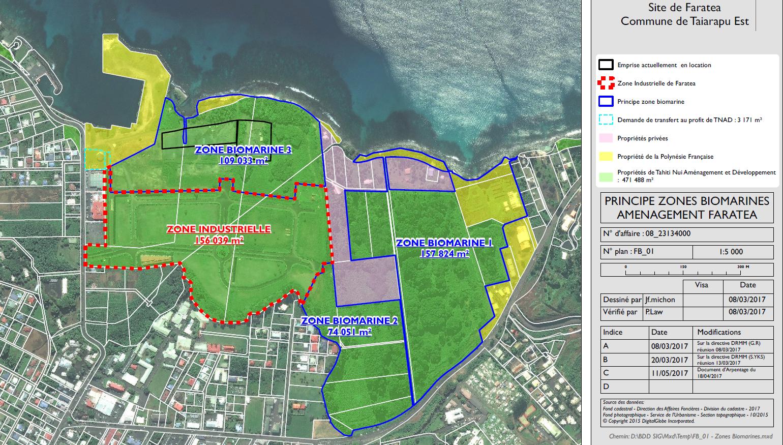 La zone biomarine occupera 35 hectares du foncier domanial de Faratea. (Plan : TNAD)