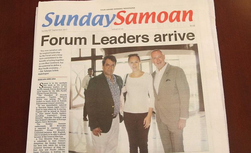 La presse samoane relaie l'arrivée des chefs d'exécutif à Apia, et notamment du Président Edouard Fritch, pour la réunion du Forum des îles du Pacifique