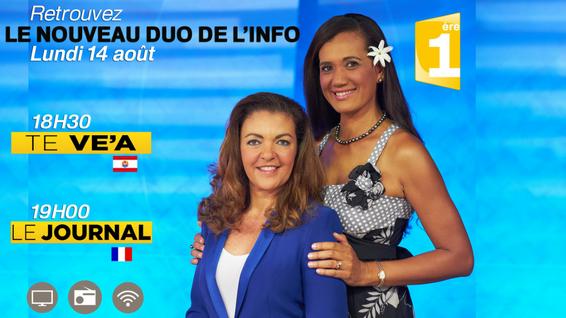 Natacha Szilagyi et Teupoo Fatupua-Avae, le nouveau duo de l'info.