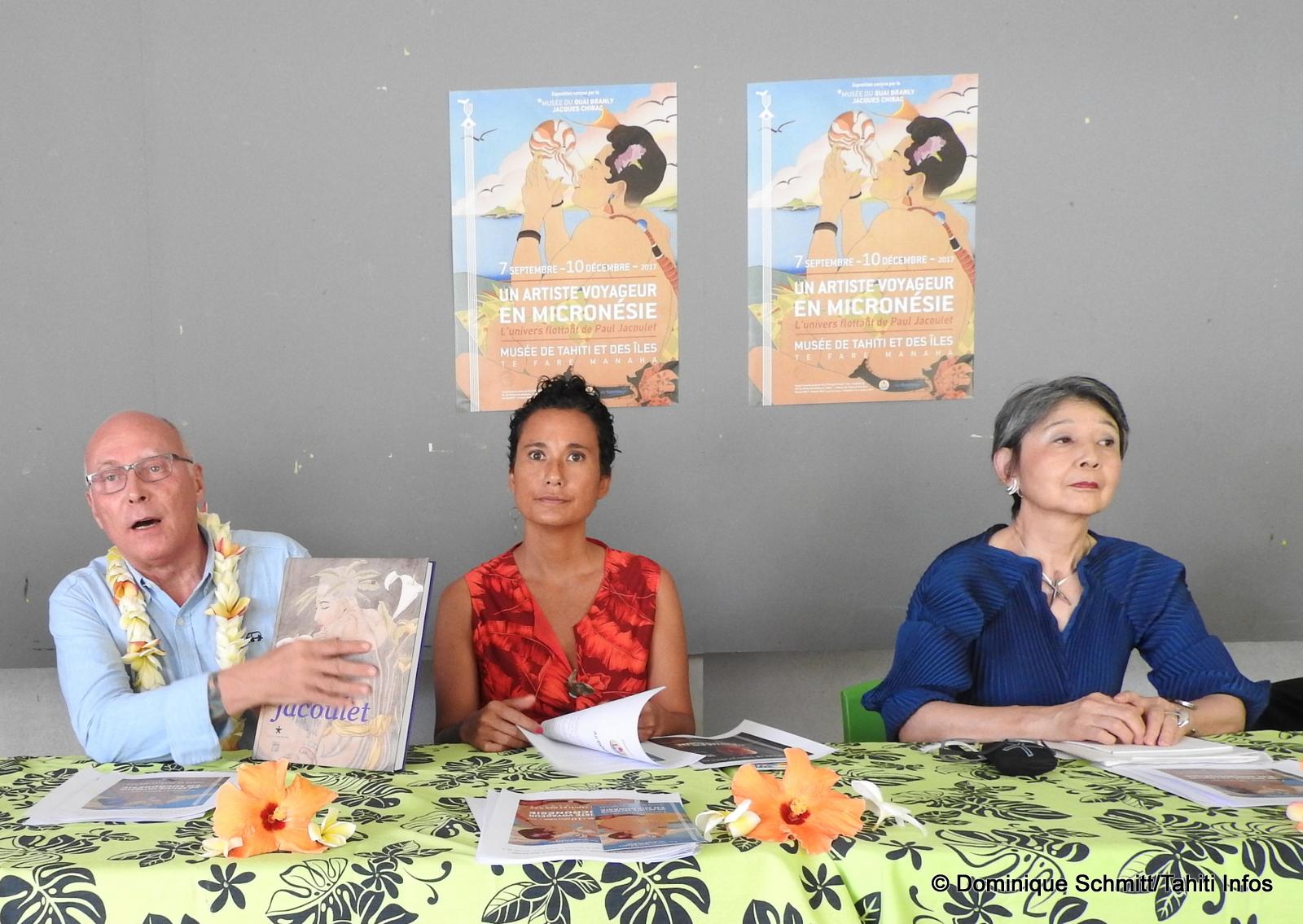Stéphane Martin, Miriama Bono et Thérèse Jacoulet-Inagaki ont présenté l'œuvre raffinée de Jacoulet.