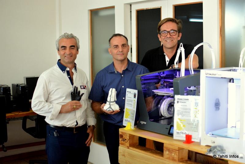 Michel Mutlu (gérant), Frédéric Piombino (directeur technique) et Olivier Guillou (fondateur de ideOkub en métropole).