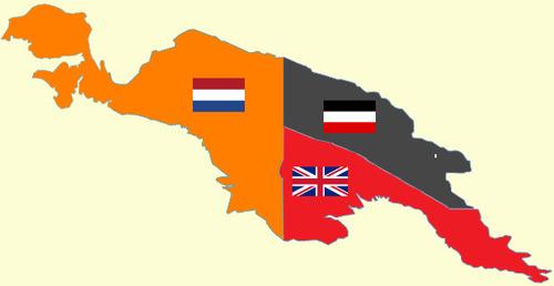 La Nouvelle-Guinée en 1913 : hollandaise à l'ouest, allemande au nord-est et anglaise au sud-est.