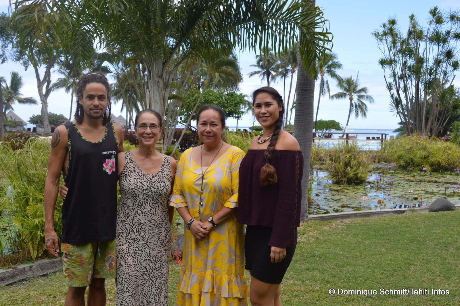Tuarii Tracqui, Tumata Robinson, Manouche Lehartel et Taiana Mahinui attendent plusieurs centaines d'artistes sur la scène du Méridien.