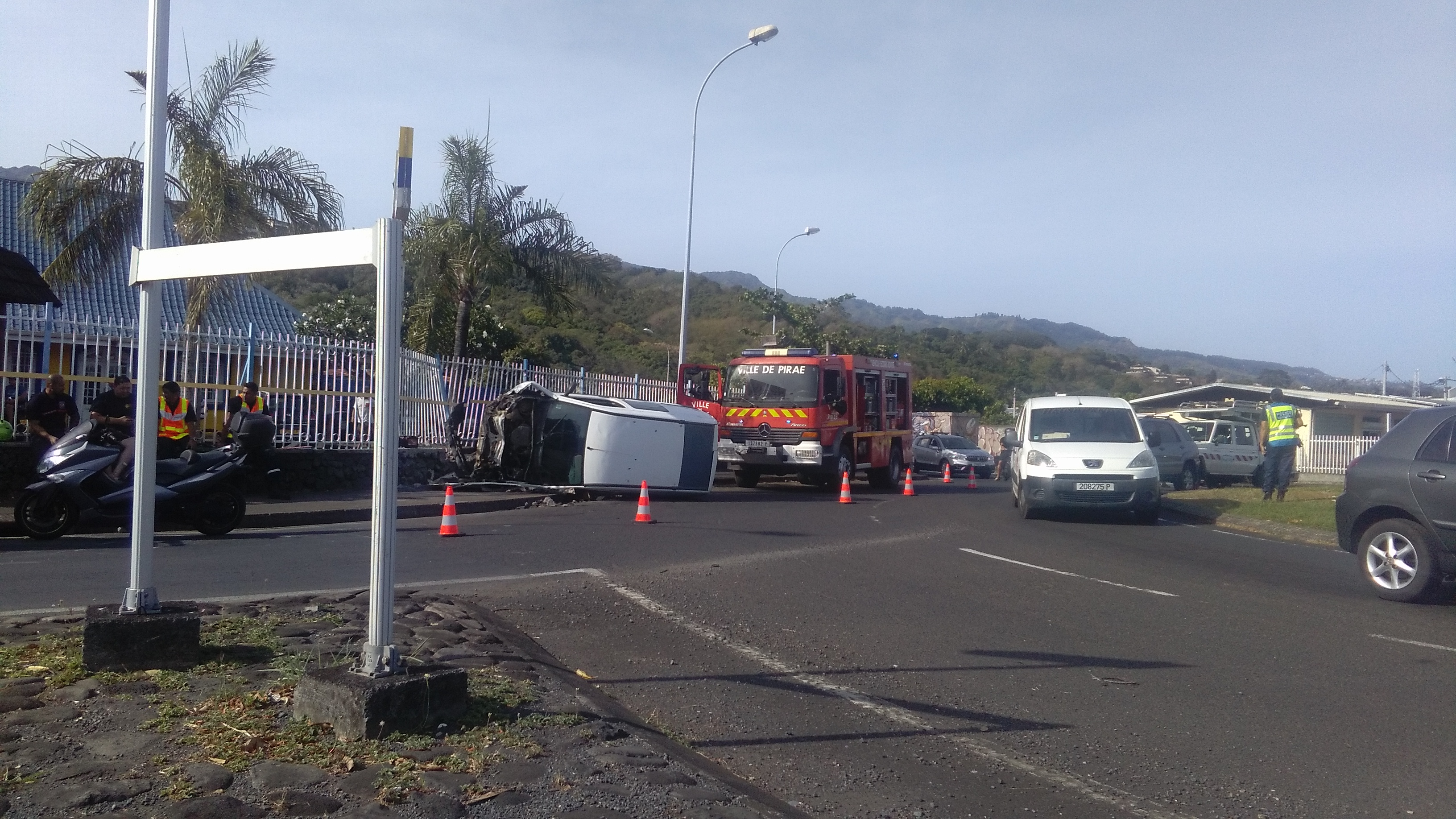 Arue : accident spectaculaire ce matin