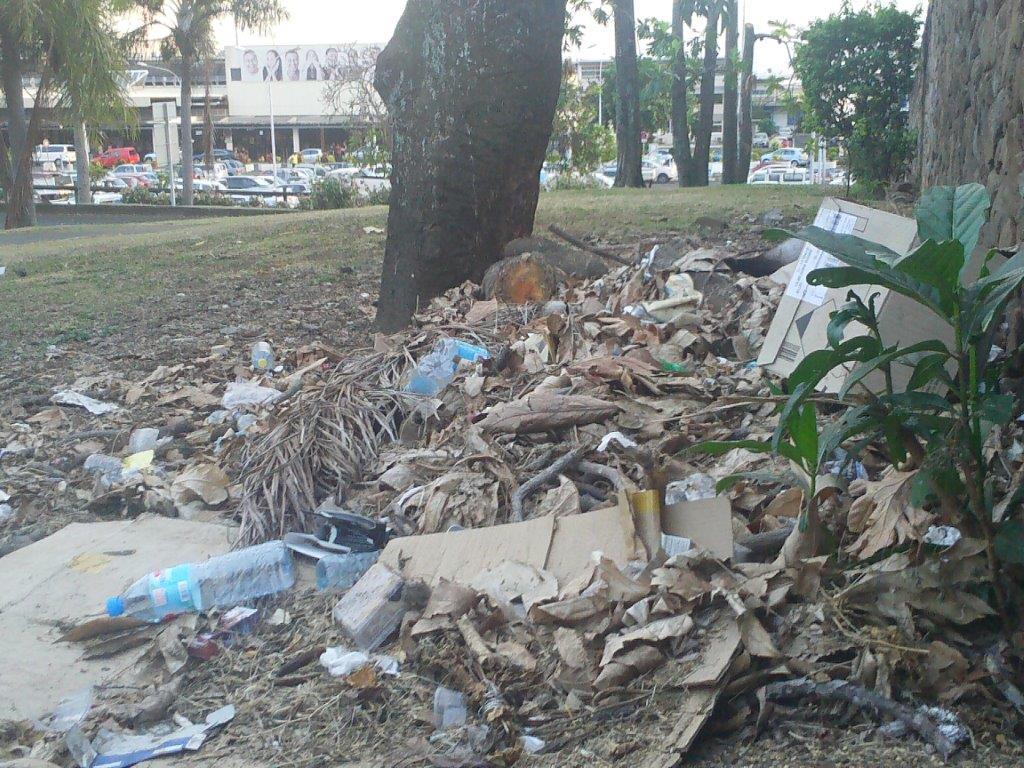 """photo partagée par un lecteur de Tahiti Infos en juillet 2017 d'une pollution près de l'aéroport. Cette pollution sauvage par des particuliers ne sera pas soumise au principe du """"pollueur-payeur""""."""