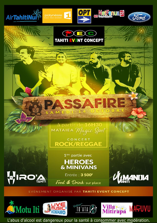 Concert de rock et reggae samedi à Mataiea avec le groupe Passafire