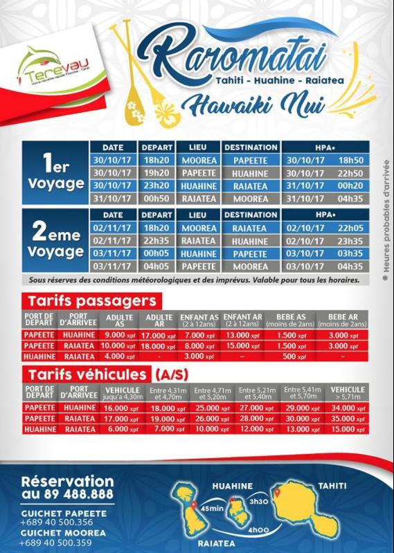 Le Terevau desservira les Raromatai pour l'Hawaiki Nui (horaires et tarifs)