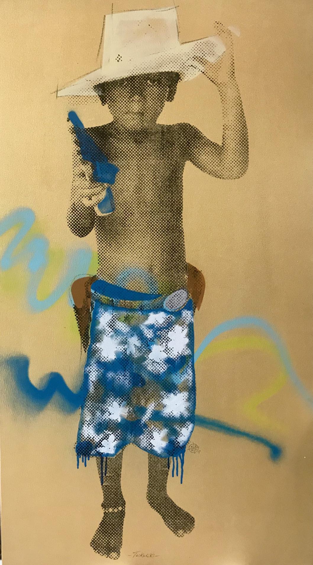 """Cette sérigraphie sur toile intitulée """"Teikariki-Teikariki"""" est """"un transfert du double Elvis de Warhol rehaussé d'un clin d'œil au vandalisme urbain actuel et inutile"""", explique l'artiste."""