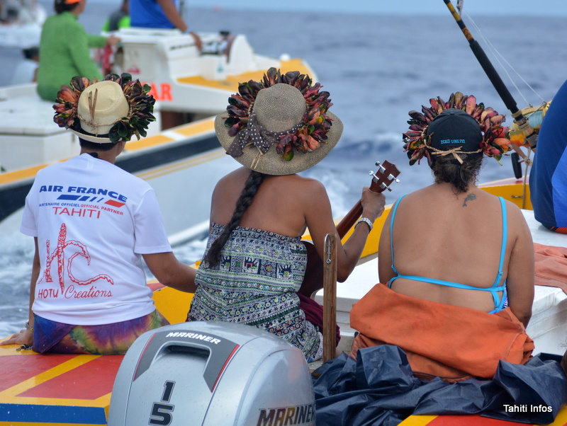 Ambiance ukulele pendant l'arrivée à Bora Bora