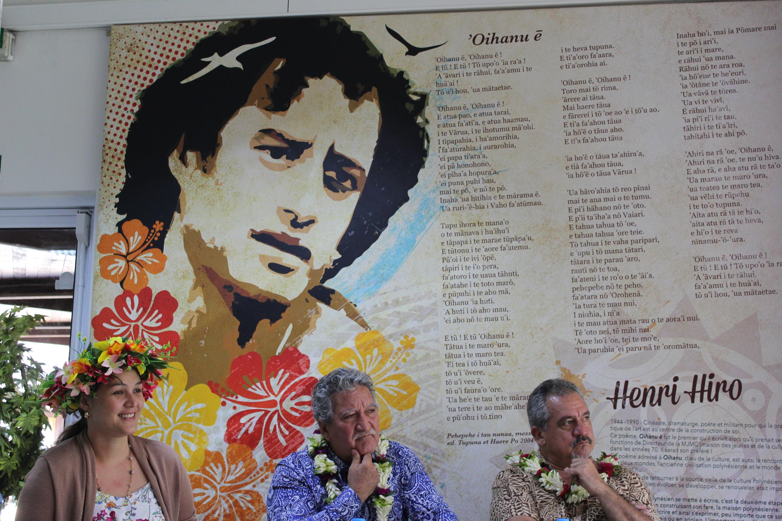 La directrice de la Maison  de la Culture, Hinatea Ahnne, accompagnée du ministre du Numérique, Jean-Christophe Bouissou et de la Culture, Heremoana Maamaatuaiahutapu.