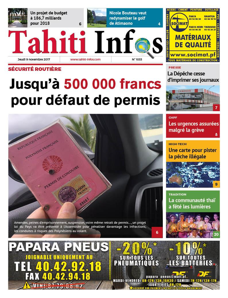 TAHITI INFOS N°1033 du 9 novembre 2017