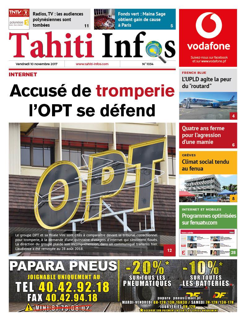TAHITI INFOS N°1034 du 10 novembre 2017
