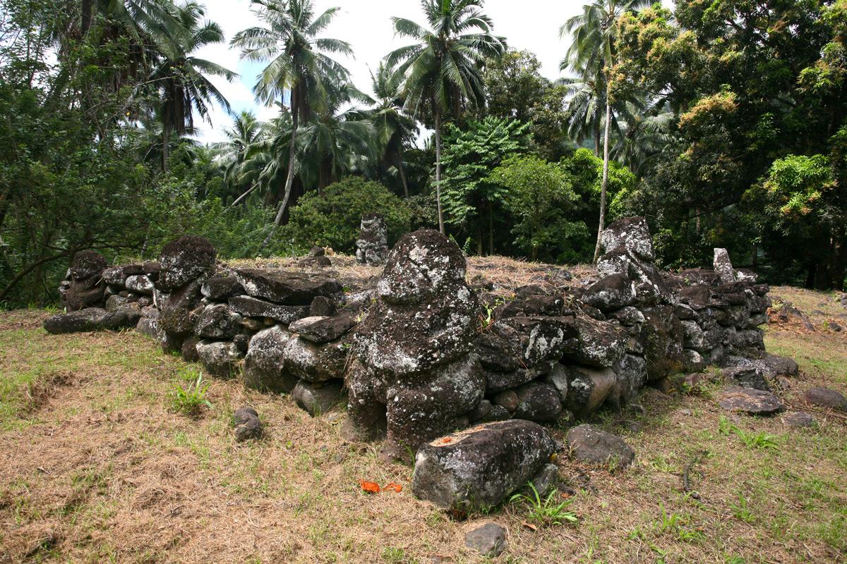 Une vue de la plate-forme inférieure du meae Paeke avec ses quatre tiki enchâssés dans le mur d'enceinte et le cinquième (partiellement décapité) sur la plate-forme.