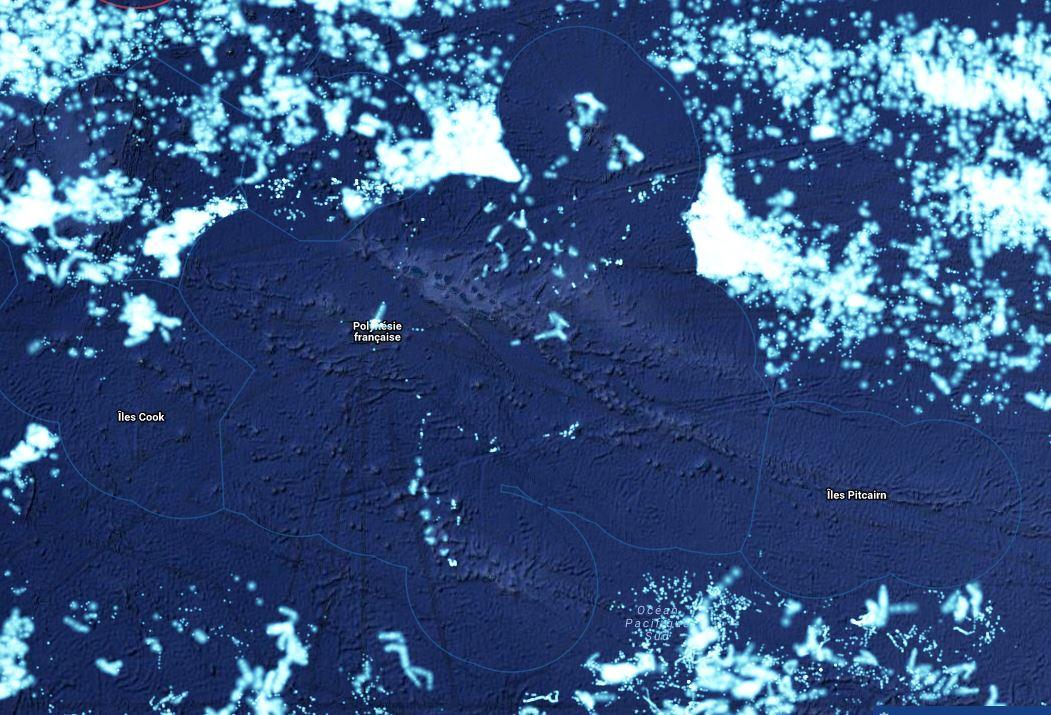 On constate sur cette carte que la ZEE qui entoure la Polynésie est vraiment protégée, alors qu'une grande quantité de bateaux étrangers s'amassent tout autour. Cela montre l'efficacité du dispositif.