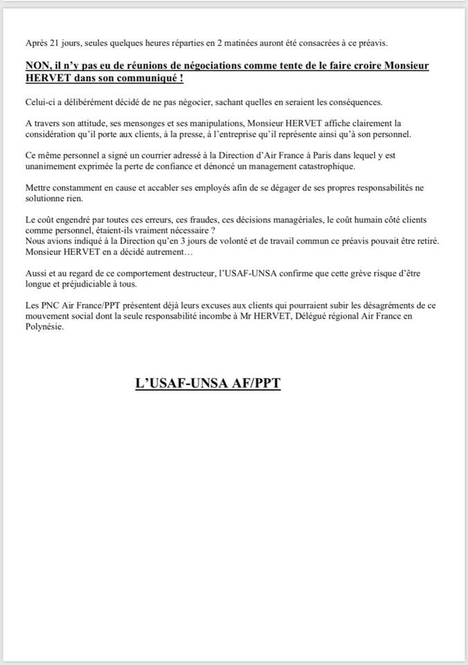 Air France : L'USAF-UNSA déplore l'absence de dialogue