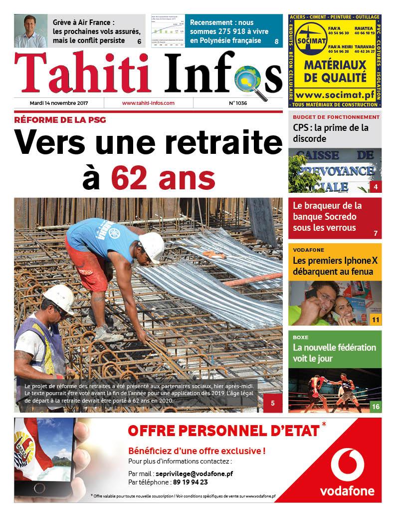 TAHITI INFOS N°1036 du 14 novembre 2017