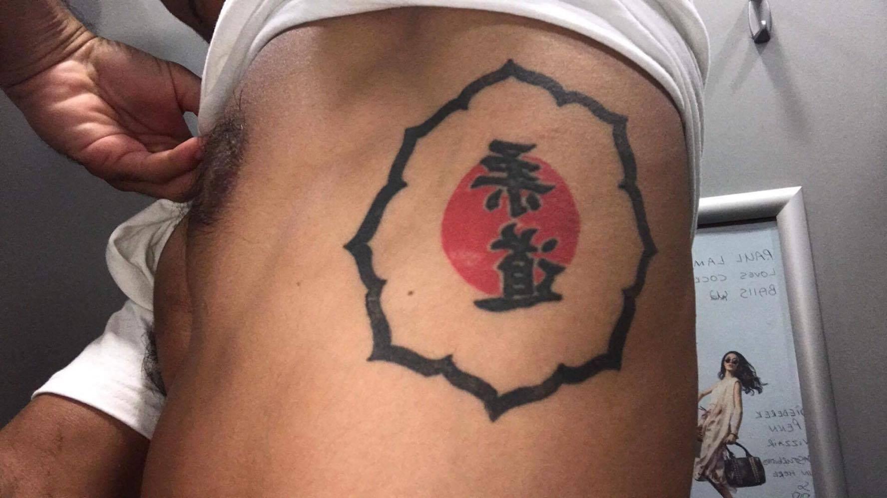 Gaston Lafon s'est tatoué l'emblème du kodokan, la mecque du judo au Japon