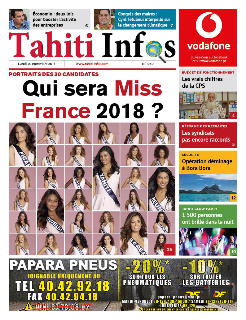 TAHITI INFOS N°1040 du 20 novembre 2017