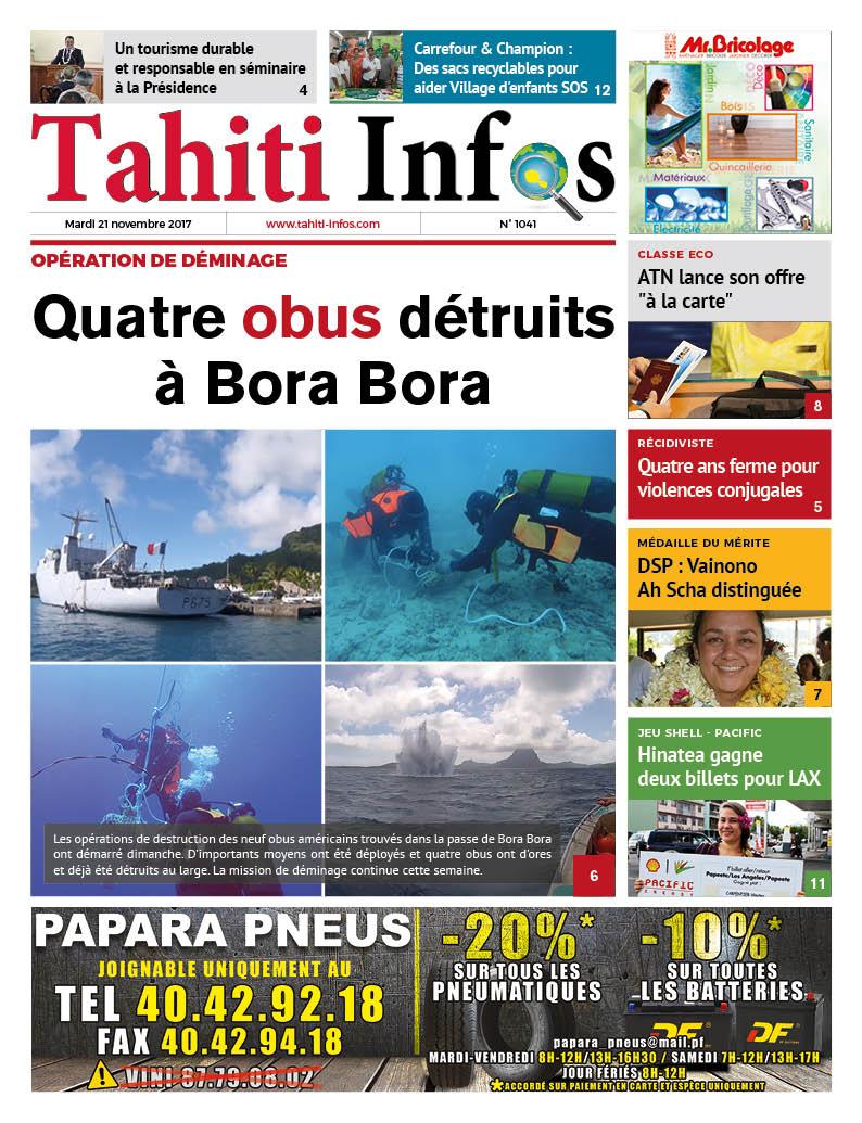 TAHITI INFOS N°1041 du 21 novembre 2017