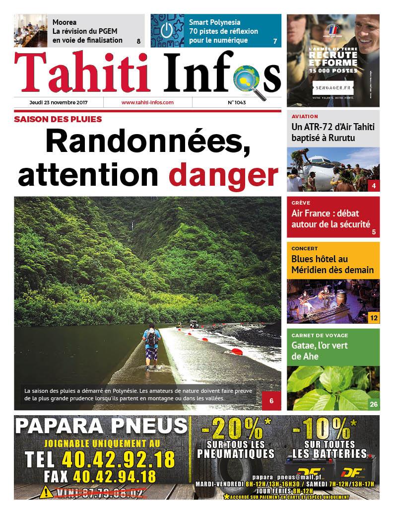 TAHITI INFOS N°1043 du 23 novembre 2017