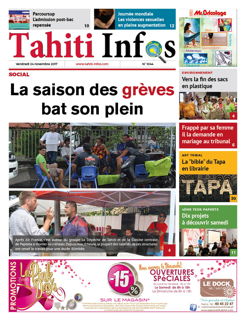 TAHITI INFOS N°1044 du 24 novembre 2017