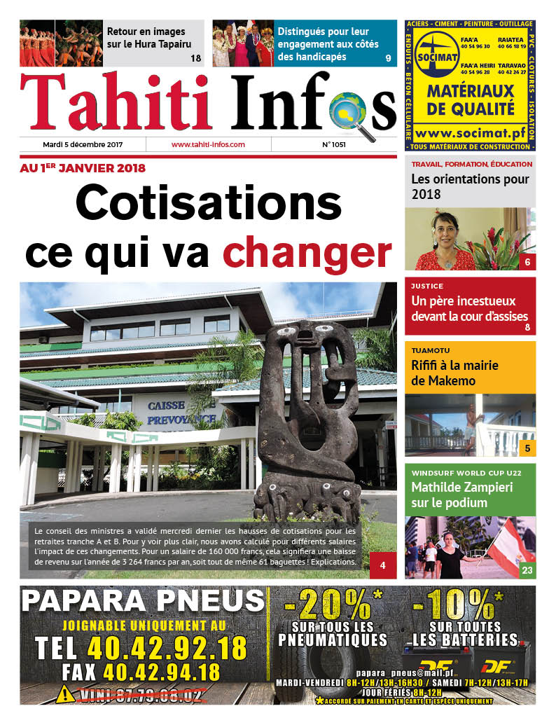 TAHITI INFOS N°1051 du 5 décembre 2017