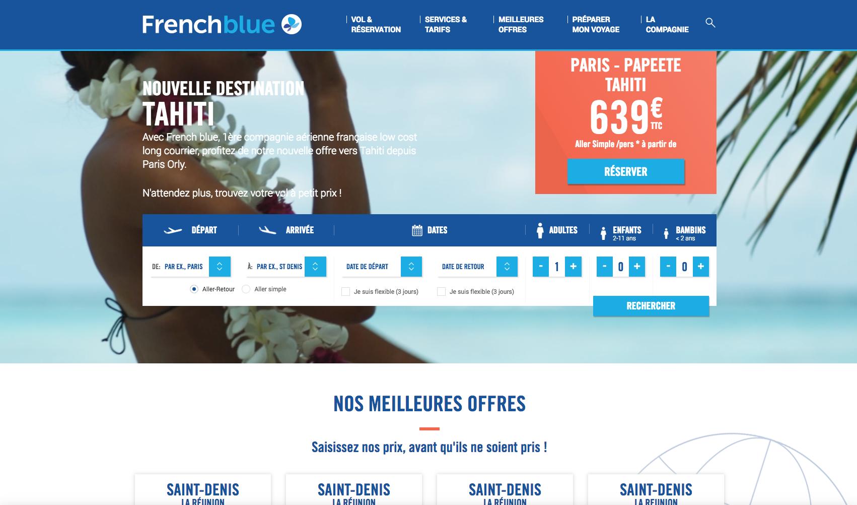 Le site de French blue consultable uniquement hors Polynésie (pour le moment)