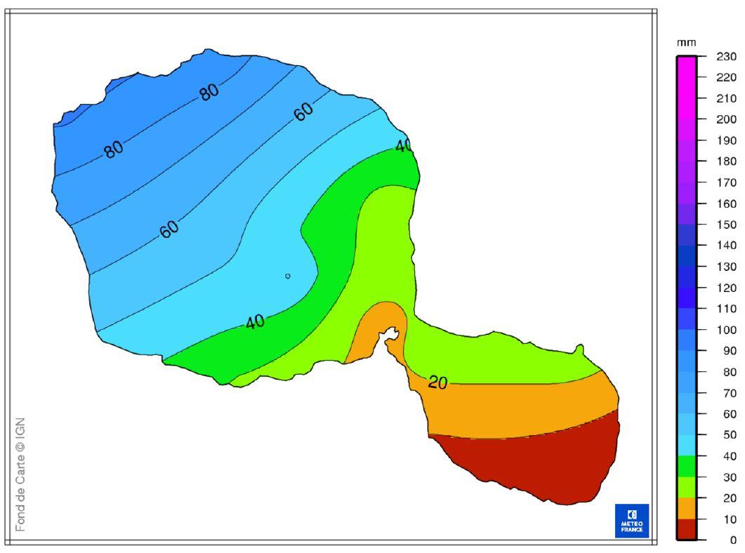 Carte donnant une vision des cumuls de pluies tombées (en mm ou L/m²) sur Tahiti entre le samedi 16 décembre 8 heures et le dimanche 17 décembre à 8 heures.