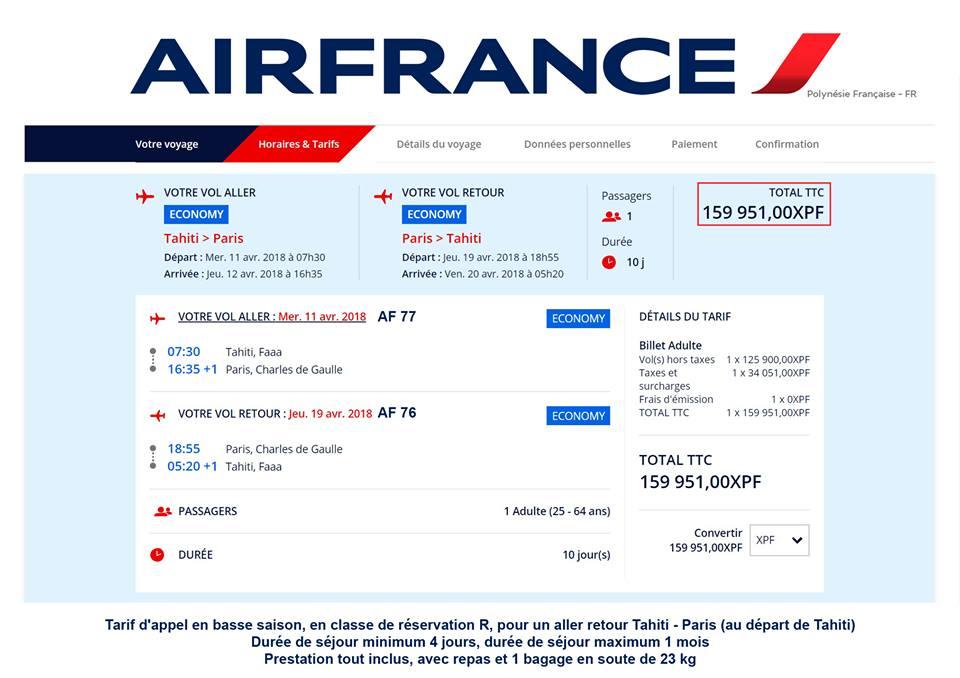Le tarif d'appel en basse saison pour un aller-retour Tahiti-Paris en classe économique est proposé  à partir de 160 000 Fcfp. Aviation Geeks Tahiti