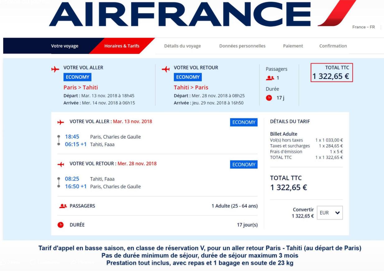 Air France baisse ses tarifs au départ de Paris vers Tahiti