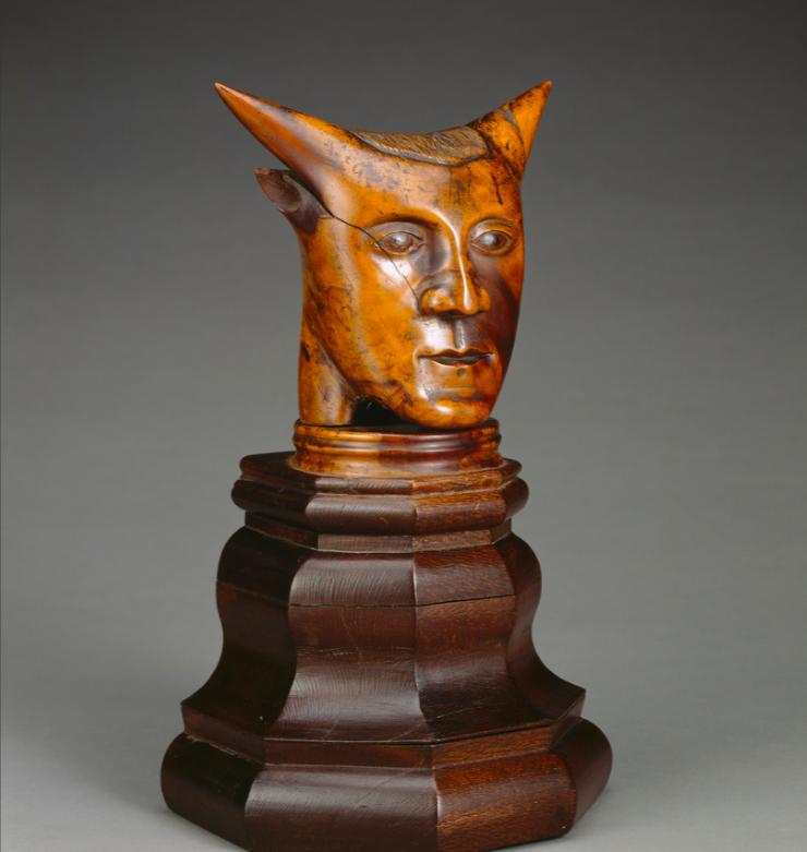 "Head with horns"". Paul Gauguin, 1897, Tahiti (Getty Museum, Los Angeles)."