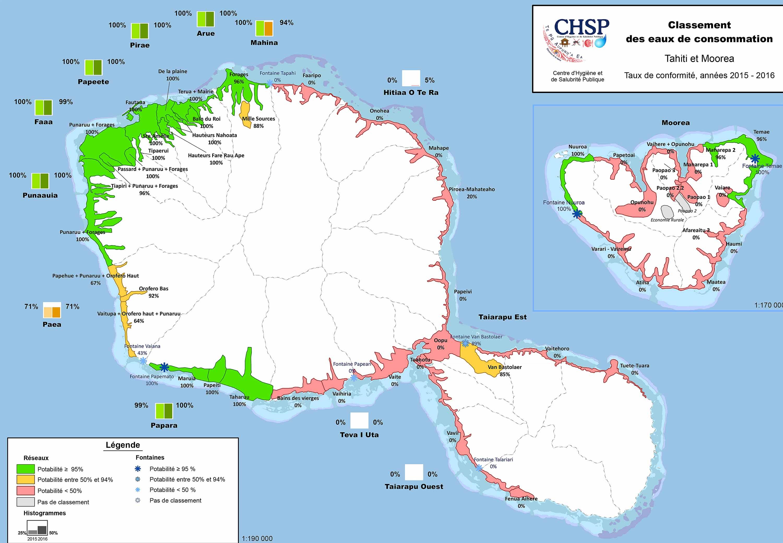 En vert, les zones où l'eau est 100 % potable à Tahiti et Moorea. Notons que l'eau est aussi 100 % potable à Bora Bora, et sur une grande partie du réseau de Taha'a, Huahine et Rurutu.