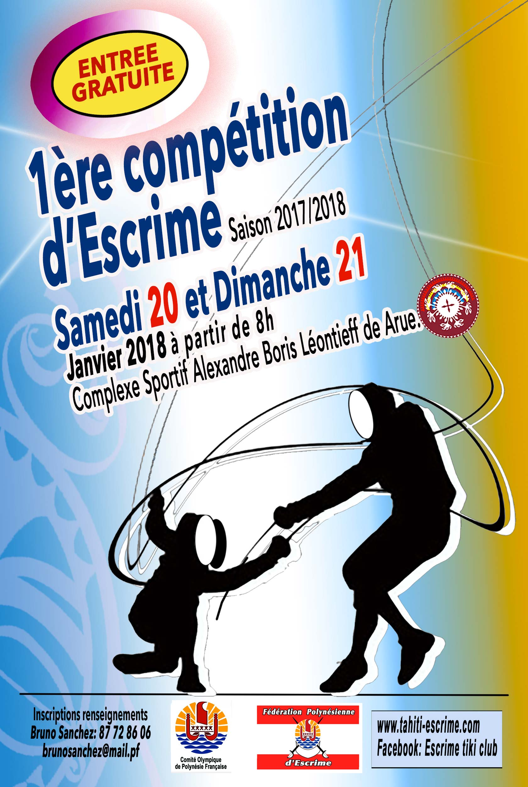 Escrime - Saison 2017-2018 : Les compétitions se dérouleront désormais au gymnase d'Arue