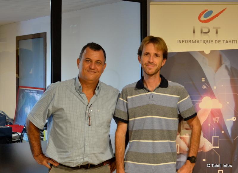Olivier Kressmann, p-dg d'IDT, et Sylvain Reverdy, chef de projet au bureau d'étude d'IDT qui a développé Natira'a