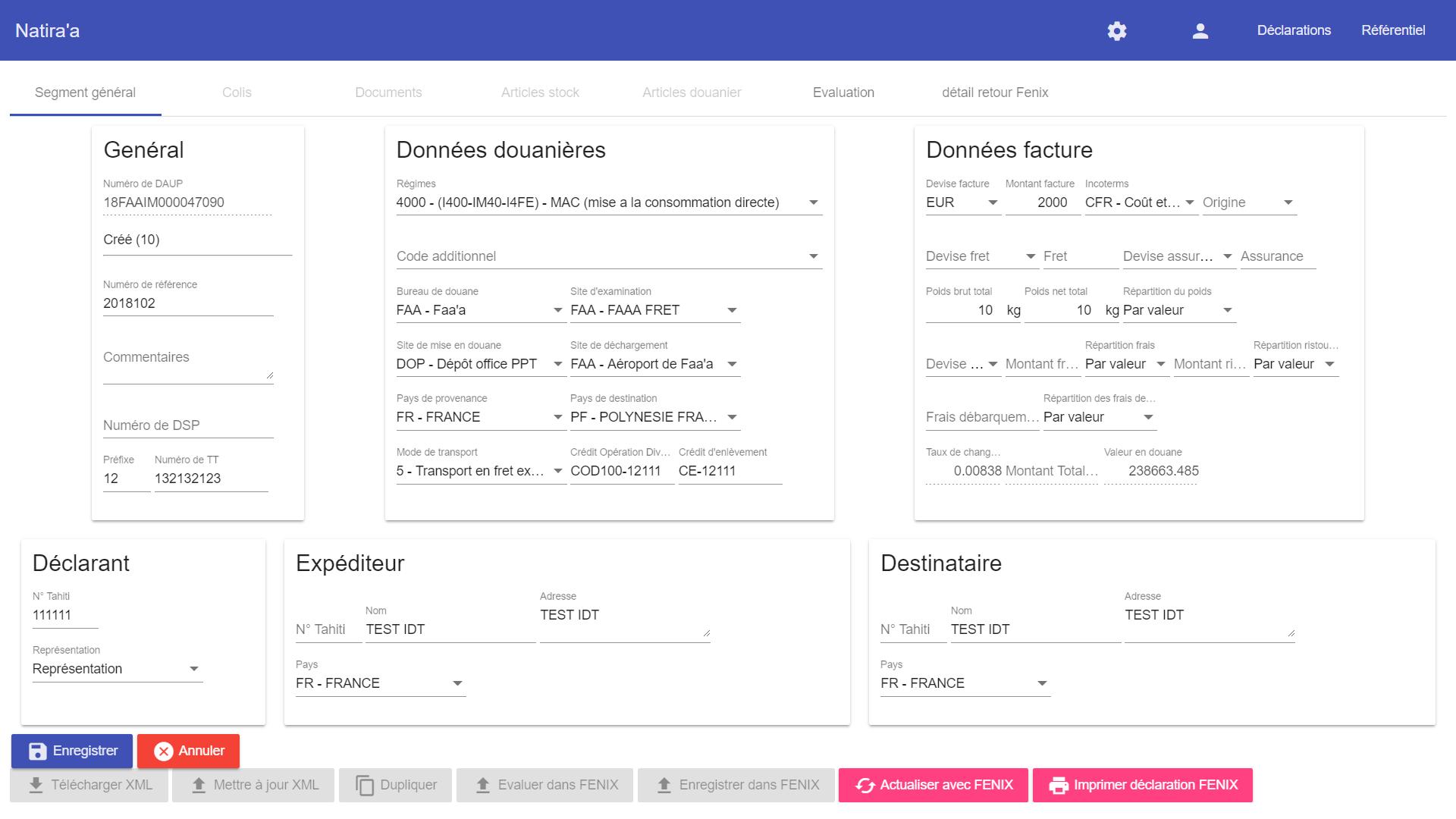 Capture d'écran du logiciel Natira'a
