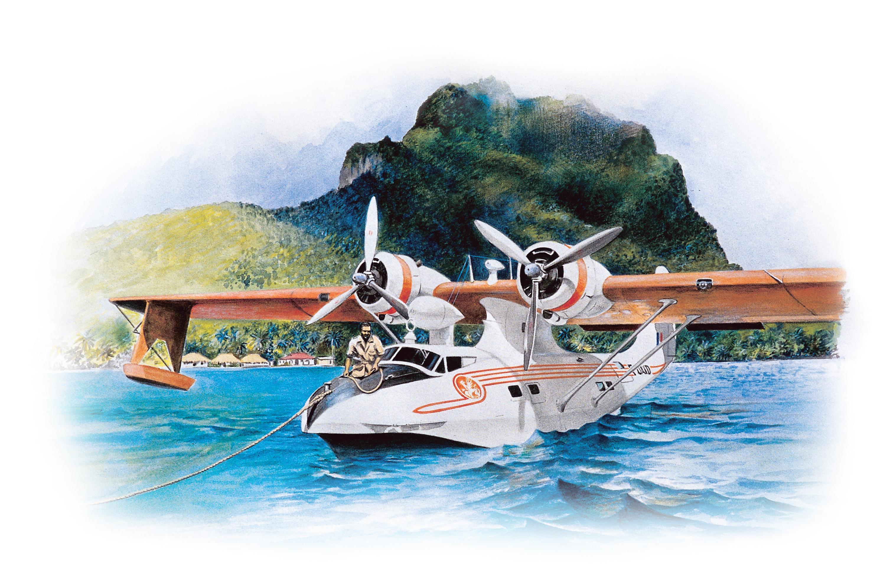 Les Catalina de la Régie, qui desservent d'abord les îles Sous-le-Vent, sont basés sur le motu Tahiri de Faa'a qui deviendra le pivot central du développement du futur Aéroport international tahitien. Dessin Jean-Louis Saquet.