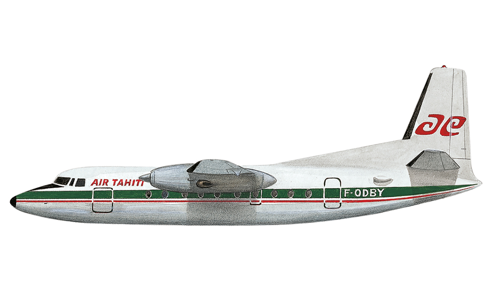 """Le dernier """" Fokker """" dans sa livrée provisoire du changement. L'hibiscus a laissé la place aux hameçons, mais le vert historique demeure."""