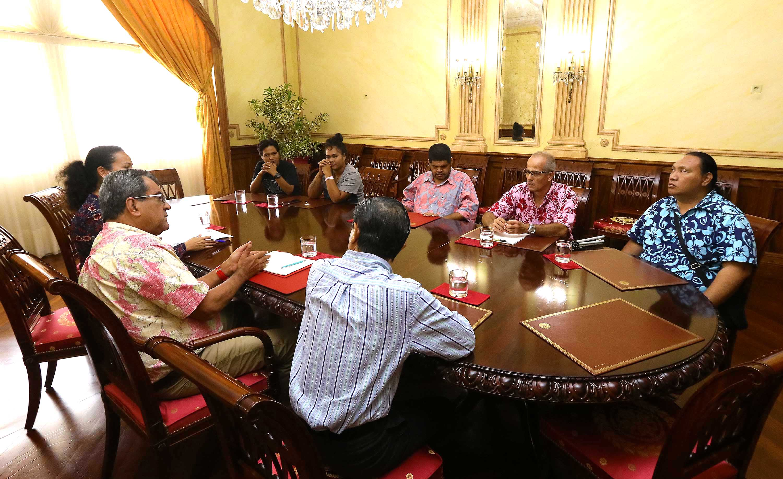 Les membres de l'association Te mata hotu no Porinetia, ont été reçus mardi à la Présidence.