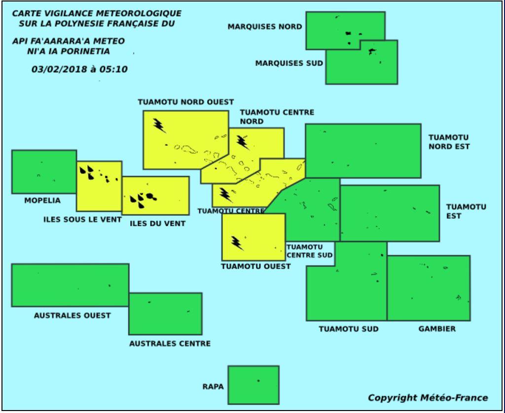Vigilance jaune pour les fortes pluies sur les Îles du Vent et les Îles sous-le-vent et vigilance jaune pour les orages sur une partie des tuamotu