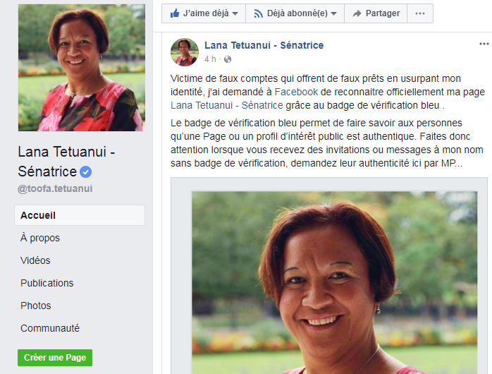 Lana Tetuanui, victime de faux comptes Facebook