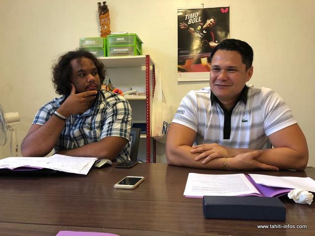 Gérald Huioutu (à droite) est le président de la fédération tahitienne de tennis de table, depuis 2015. Le bureau sera renouvelé l'année prochaine, après les Jeux du Pacifique.