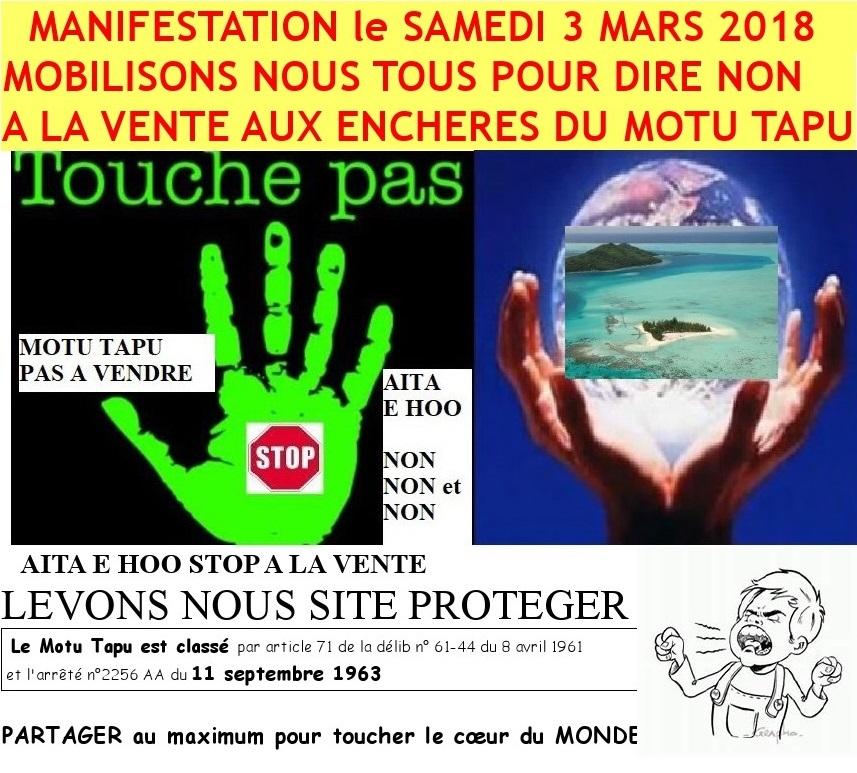 Une manifestation se fera ce samedi à partir de 17 heures, place Tuvavau.