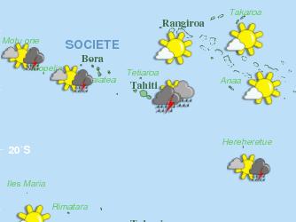 Appel à la vigilance en raison d'orages aux îles du Vent et Tuamotu