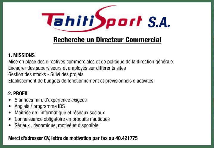 Offre d'emploi - Directeur commercial
