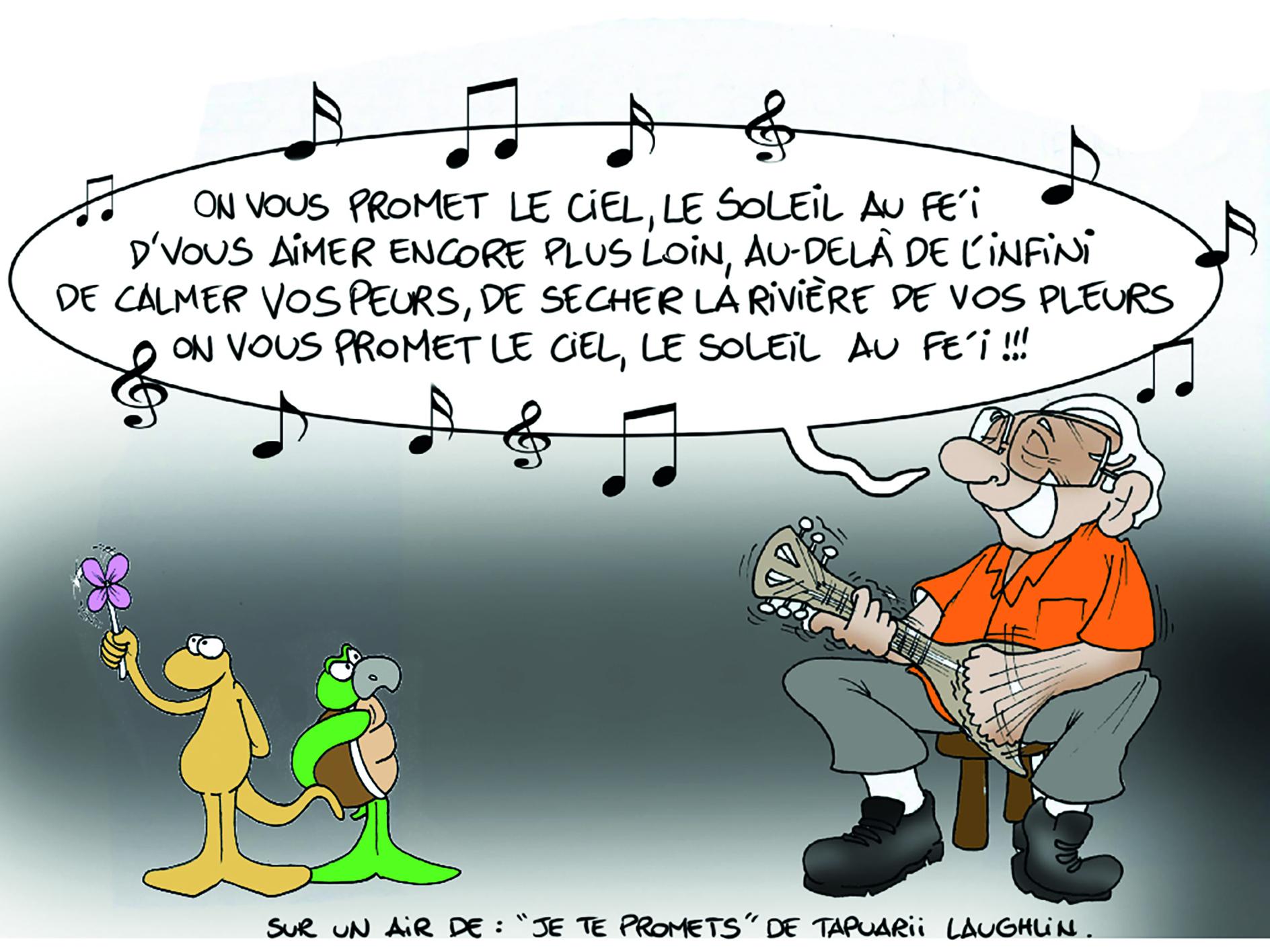 """"""" Les 12 promesses de Gaston Flosse """" vu par Munoz"""