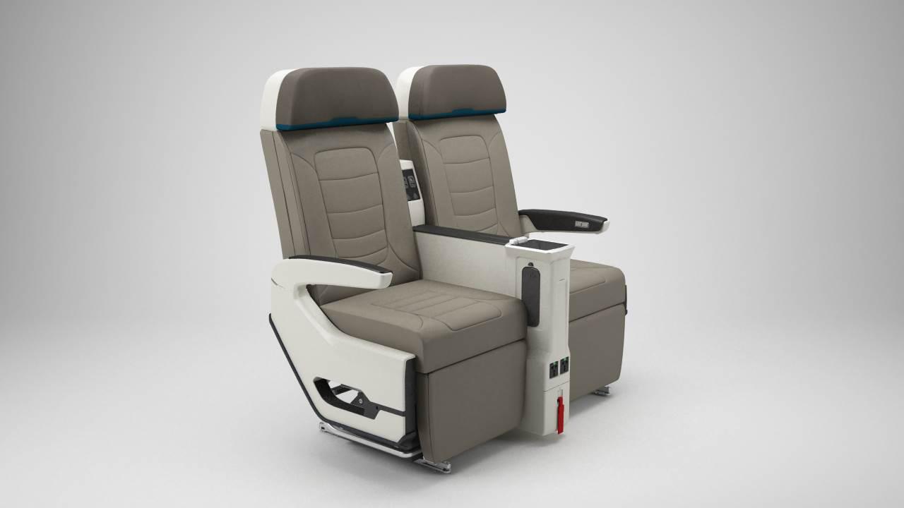 Le siège en Moana Premium propose une structure offrant un espace optimum de 96,5 centimètres entre chaque rangée et une inclinaison de 20 cm.