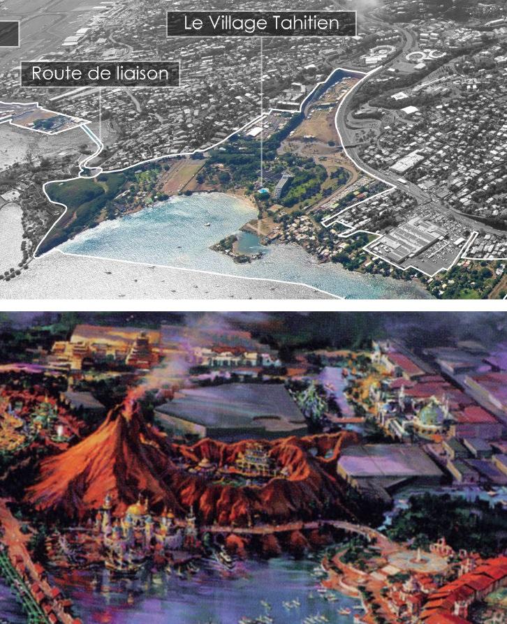 Vision d'architecte du futur parc. On reconnait même la place laissée pour l'hypermarché Carrefour derrière le volcan.
