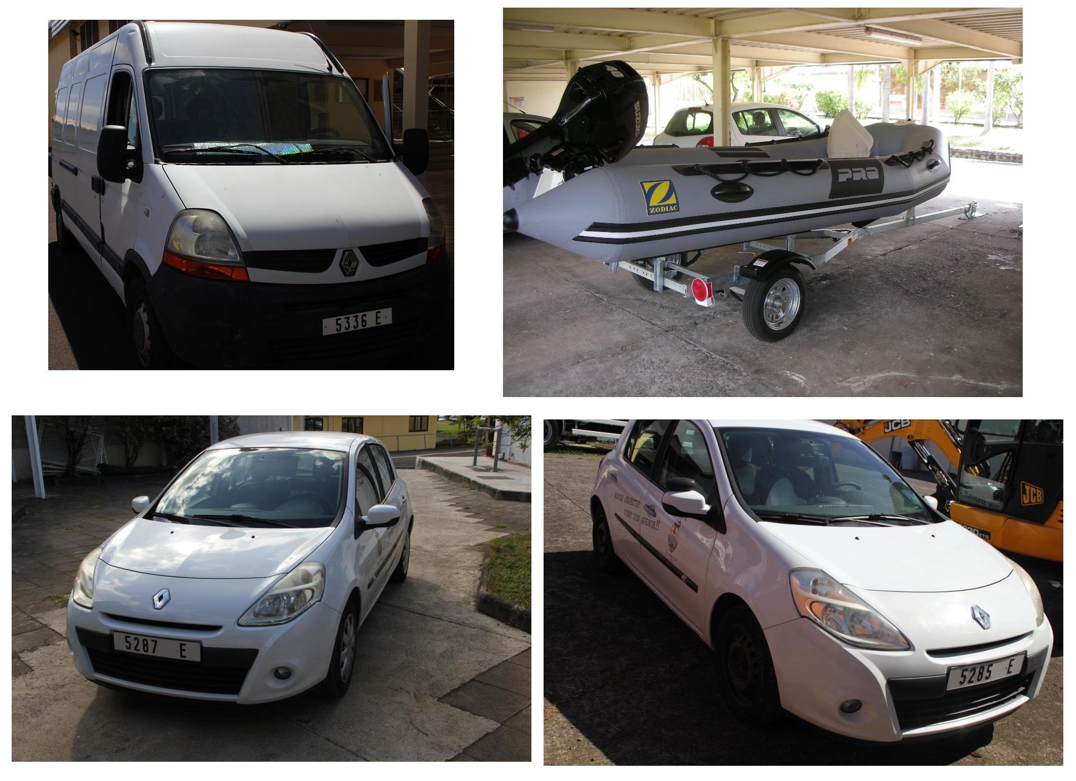 Ces voitures, camionnettes et ce zodiac seront mis en vente au camp d'Arue le 18 avril au matin.